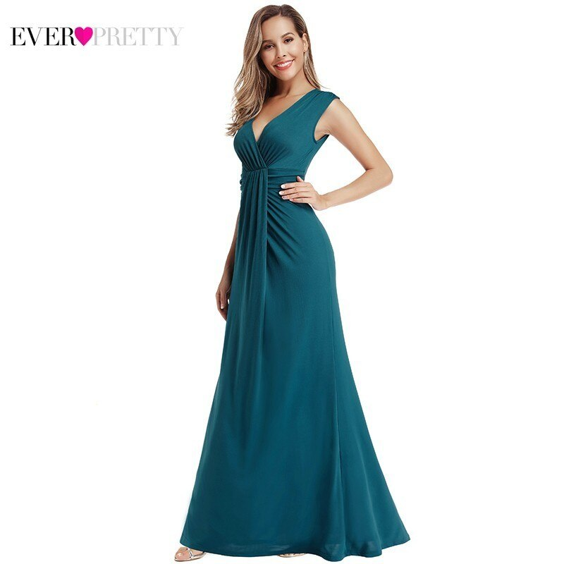 Teal Mermaid Evening Dresses Long Ever Pretty EP00927TE V-Neck Sleeveless Sexy Formal Elegant Party Gowns Robe De Soiree
