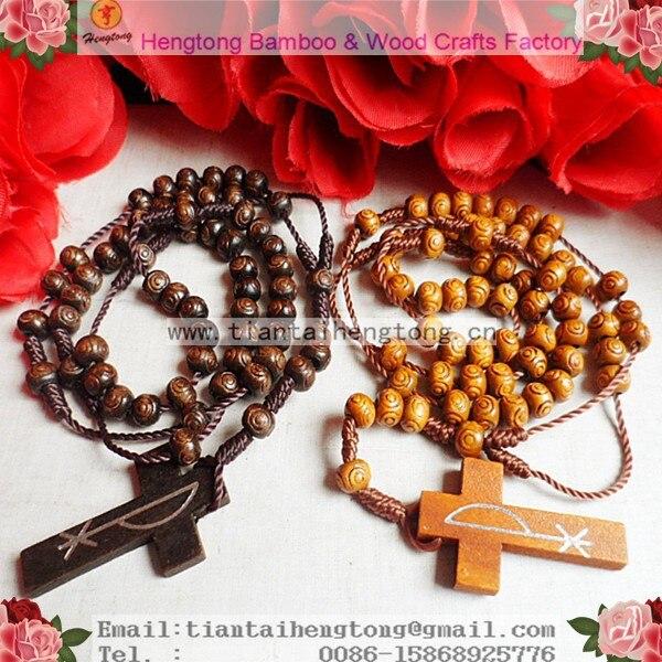 Livraison gratuite 10 pcs/paquet chapelet en bois pas cher, chapelet avec cercle gravé sur perle