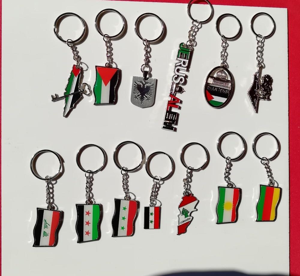 Palestina/albânia/iraque/síria/líbano/curdistão/rojava/sandzak/sandzhak bósnia bandeira crachá chaveiro jóias pulseira árabe