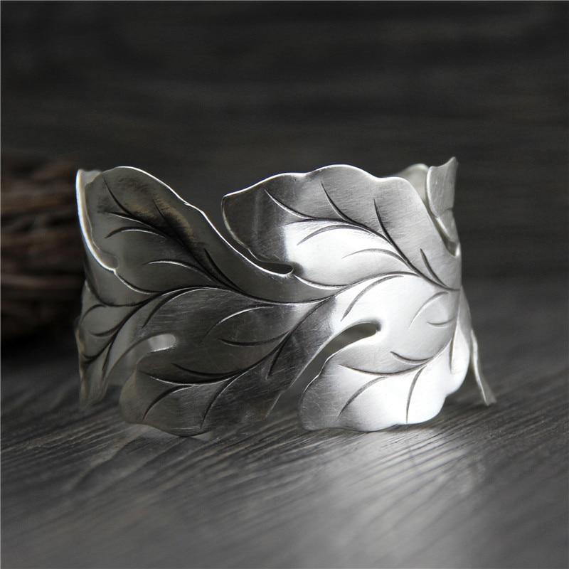 Get C&R Real 999 Sterling Silver bangle bracelet for women Wide leaf leaves bangles Vintage open Thai Silver bracelets Fine Jewelry