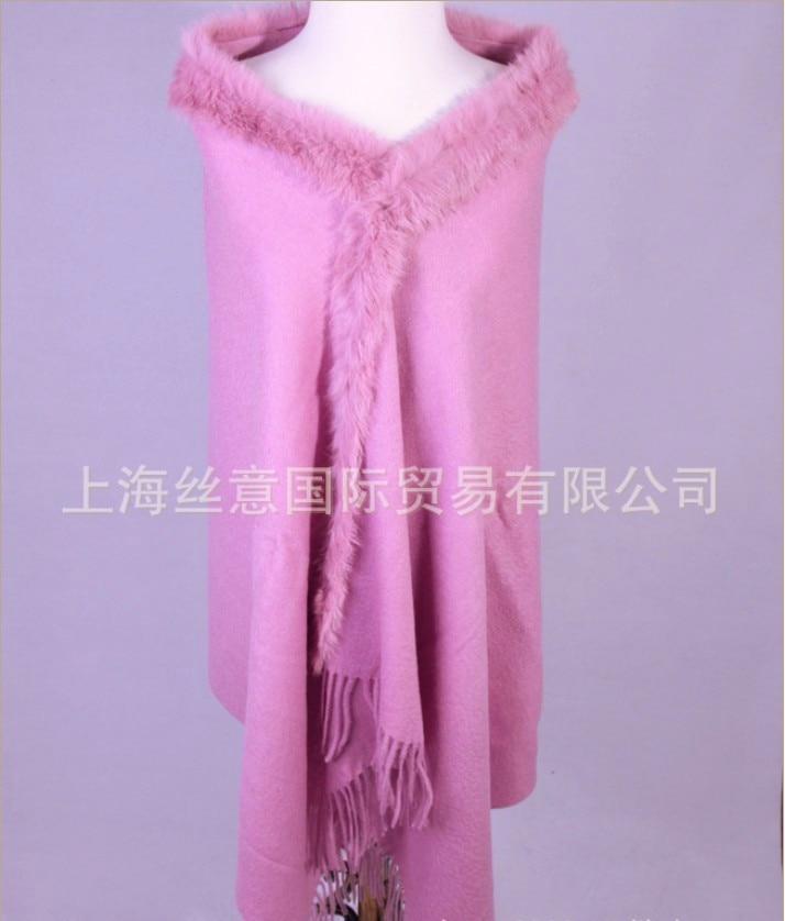Free Shipping Lavender Winter Fashion Ladies' 100% Wool Cashmere Rabbit Fur Shawl Scarf Thick Warm Wrap SY-11