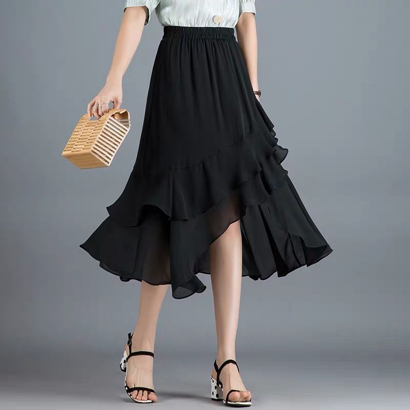 Falda Coreana de cintura alta Sexy asimétrica de moda de fiesta de noche con volantes faldas de gasa de talla grande faldas de oficina 6XL 7XL negro rojo
