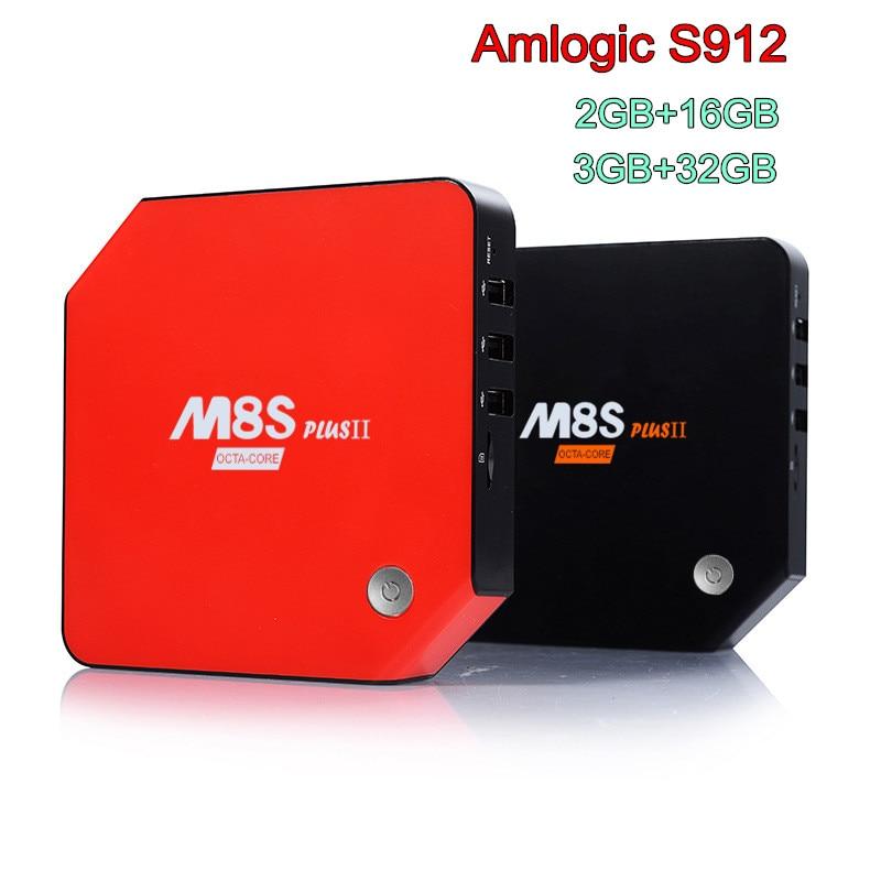 M8S Plus II 2G/3G 16G/32G Android 6,0 Dispositivo de TV inteligente Amlogic S912 2,4G/5 GHz Wifi BT 4K H.265 set de reproductor multimedia Top Box