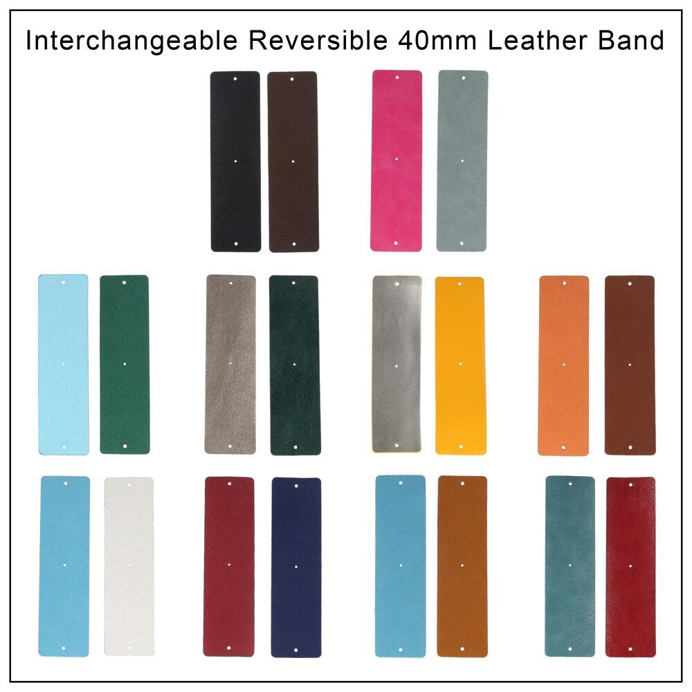 Legenstar manchette acier inoxydable Bracelet 40mm en cuir Pu réversible manchettes Bracelet femmes Bracelets classique coloré bijoux