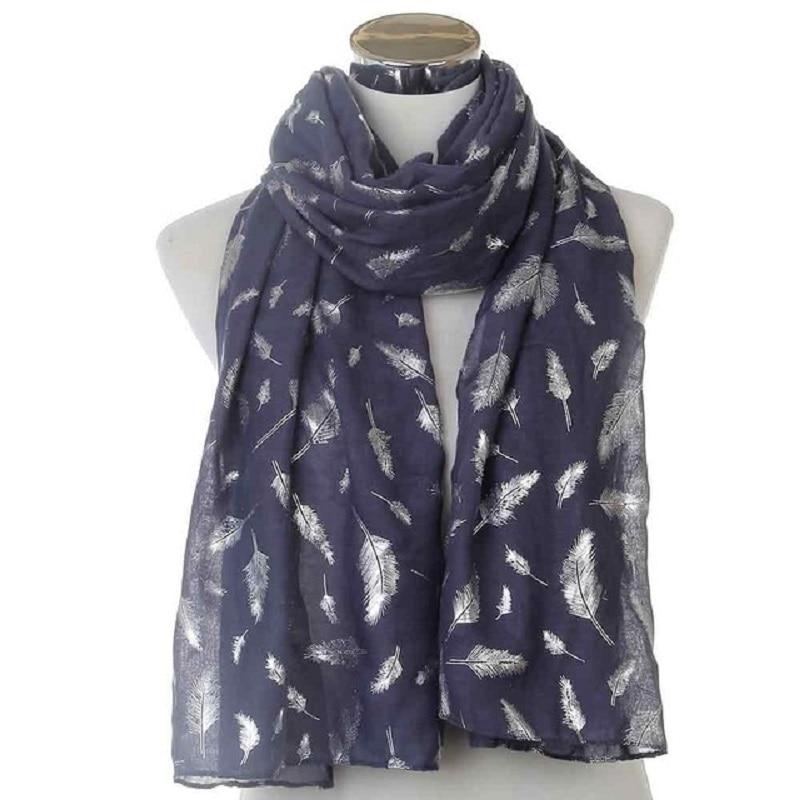 WINFOX nueva moda brillante lámina brillante azul marino blanco pluma bufanda para mujer