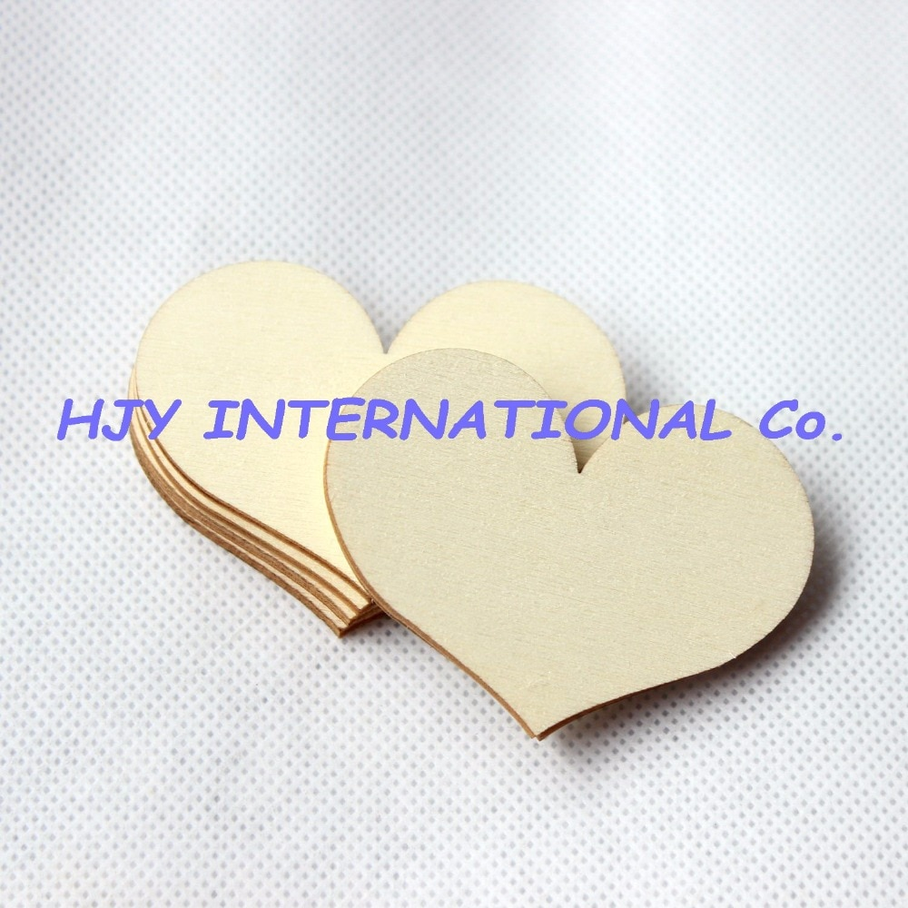 Corazón de madera sin terminar liso de 30mm/40mm/60mm, artesanías de amor, adornos de boda, bulk-CT1058
