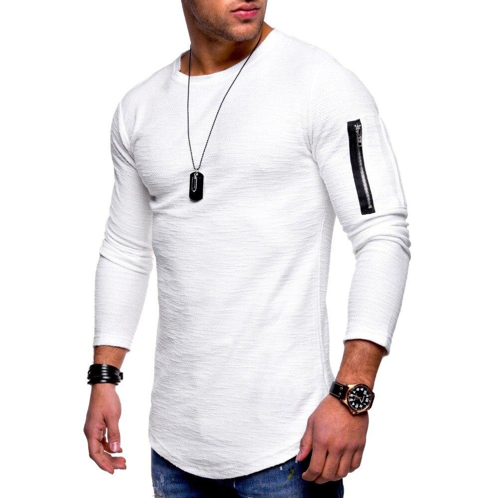 Camiseta para hombre 2019, marca de moda, camiseta Casual Fitness Hipster, camiseta de manga larga con bolsillo en los brazos, cremallera, Patchwork, cuello redondo, ropa de calle