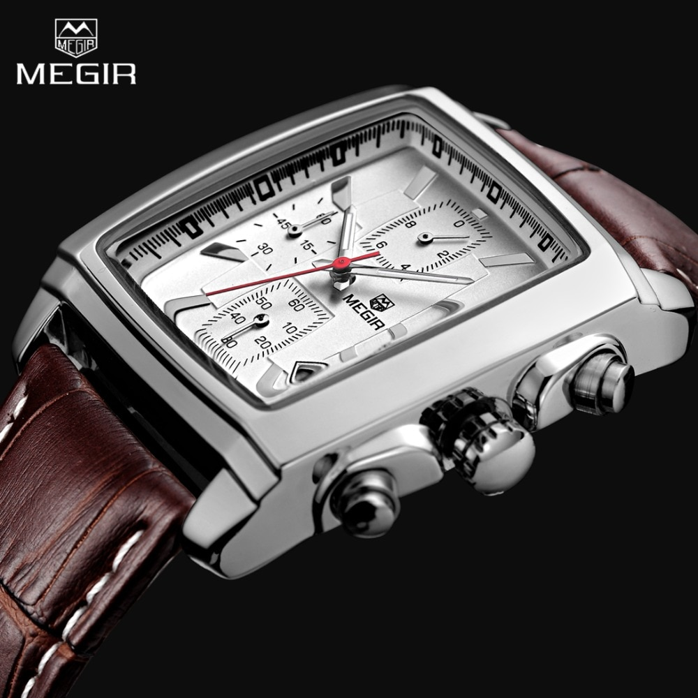 2017 New Luxury Brand MEGIR Men's Sports Chronograph Watch Genuine Leather Quartz Mens Military Wrist watch Relogio Masculino