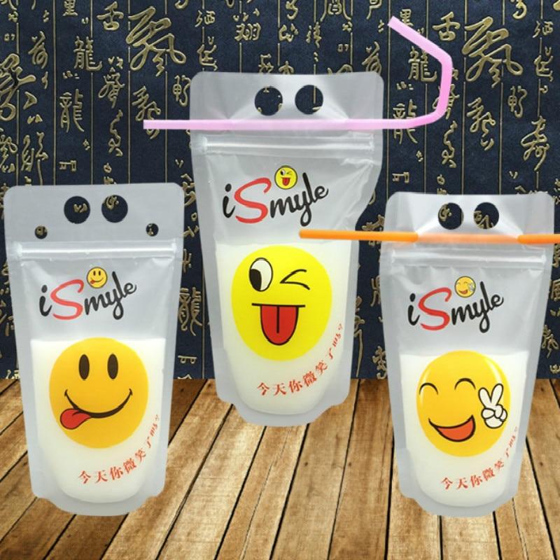 100 Uds jugo perla vaca Yogurt té leche de soja bolsa de embalaje para café Ziplock bolsas de pie pequeña bolsa de plástico transparente paquete