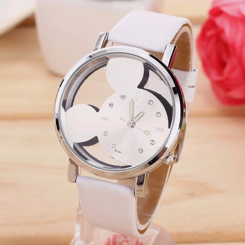 New Fashion Cartoon Mickey Women Watch Transparent Hollow quartz watches Leather strap Girl Kids Gift wristwatch Montre Femme big sale girl leather strap watch cute women wristwatch child mickey mouse watches girls fashion time lovely hour new pink kids
