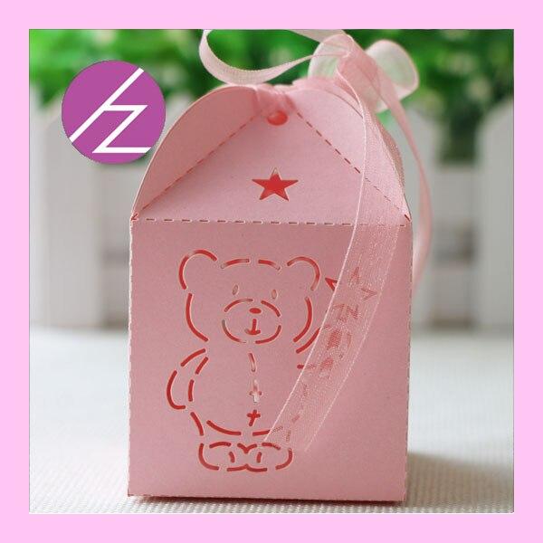 100 pçs/lote Corte A Laser Esculpido Padrão Bonito Caixa de Decorações Da Festa de Aniversário Do Bebê Chuveiro Favor Caixa de Doces Fita Livre