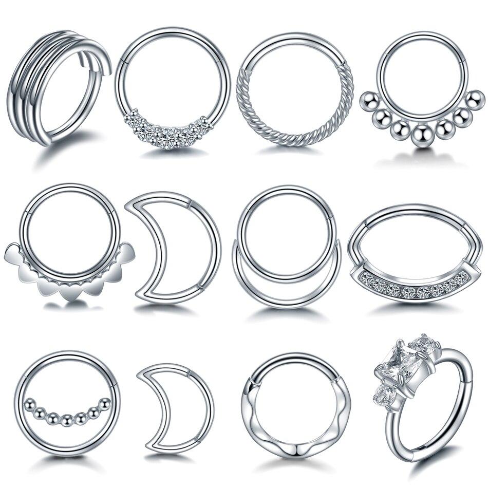 1 pc 316l aço inoxidável septo nariz anéis piercings zircão 18g 16g piercing nez brincos septo piercing nariz corpo jóias