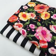 Baumwolle Twill Patchwork Material Stoff Für DIY Nähen Quilten Blume/Streifen Gedruckt Fett Viertel Material Stoff Hause Textil