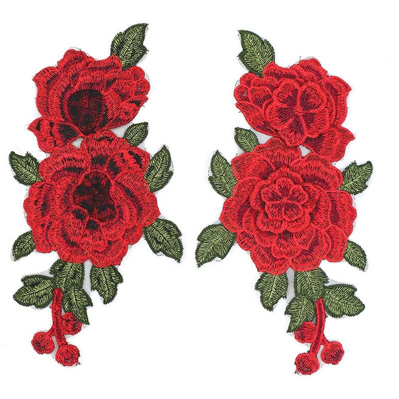 Conjunto de 2 unidades de parches con bordados de flores rosas, pegatinas para ropa, parches de flor de aplique bordado, parches para coser decoración, 23x13cm