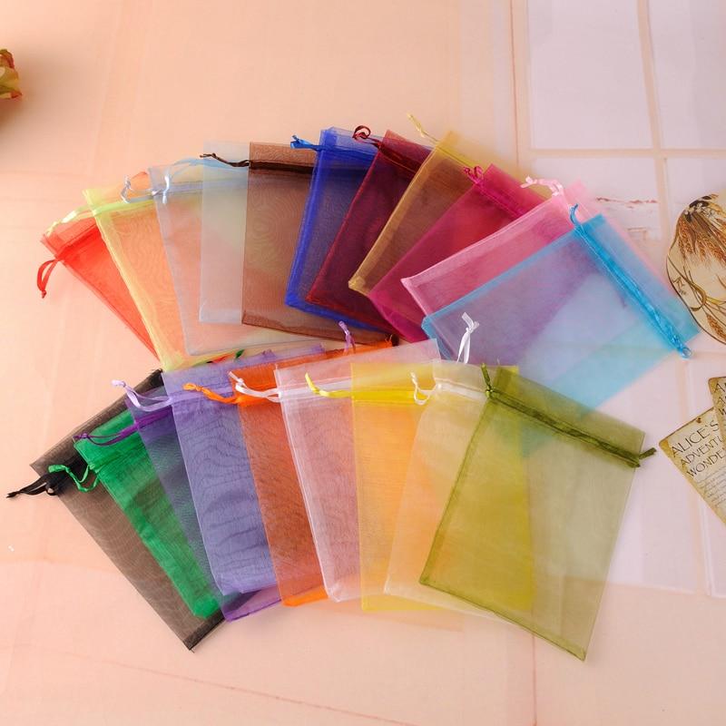 Envío Gratis moda 100 unids/lote 13x18cm blanca boda de Navidad Drawable Organza Voile regalo embalaje bolsas y bolsas