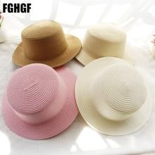 Childern Straw Hat Solid Wide Brim Boater Hat Summer Beach Sun Hat Flat Fedoras Kentunky Derby Hat in White Black 11 color
