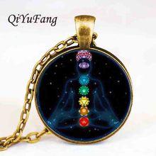 Livraison directe Chakra Tag acier reiki verre pierre guérison Yoga étiquettes pendentif collier pour les meilleurs amis cadeau vintage
