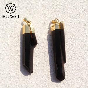 FUWO Natural Smokeys Quartz Crystal Point Pendant High Quality Semi-precious Stone 24K Gold Electroplate Jewelry Wholesale PD075