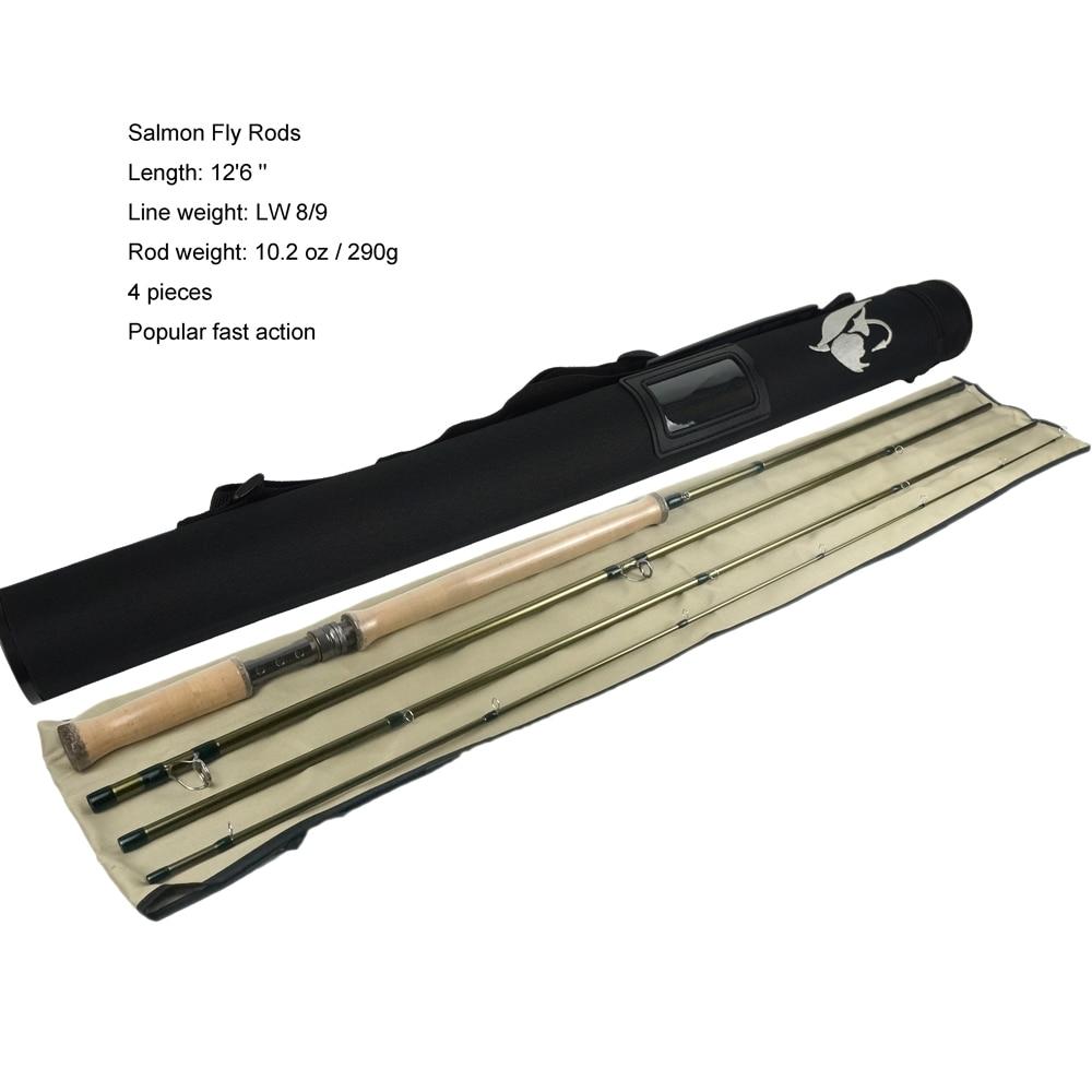 Aventik Free Shipping 12'6'' LW8/9 13ft 14ft 4SEC Double Hand Salmon Fly Fishing Rod Fishing Pole Salmon Fishing Cane NEW