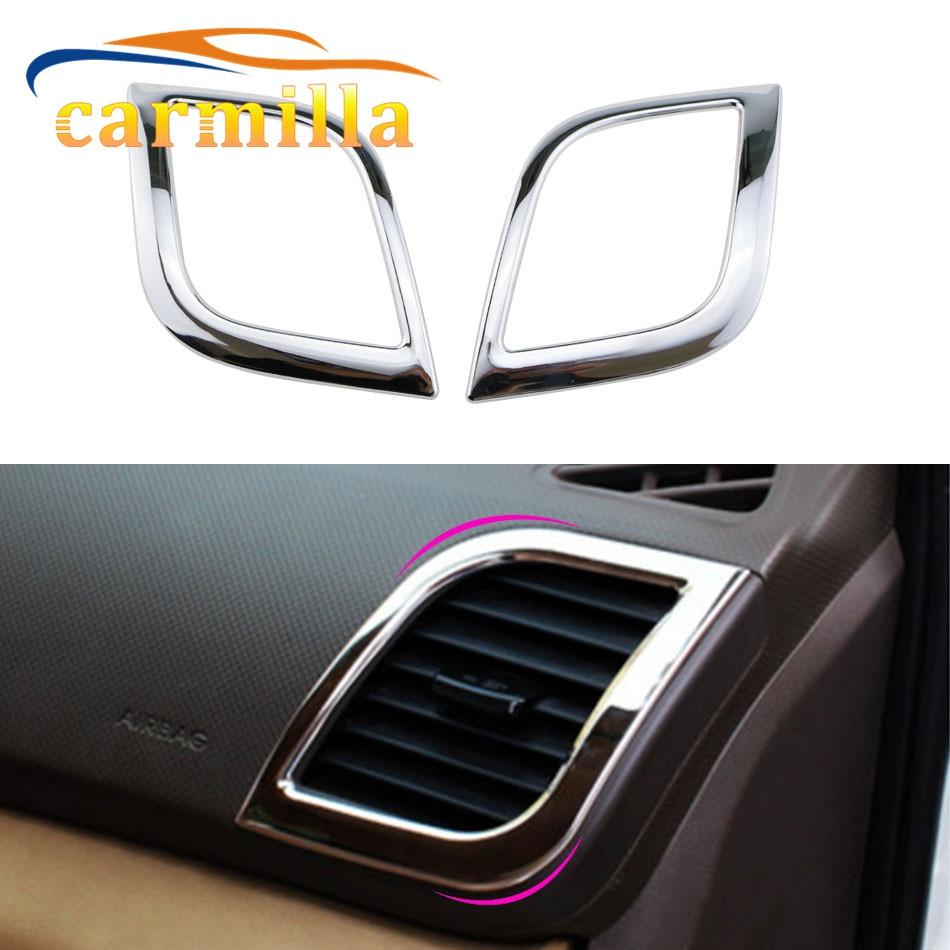 2 Pcs/Set ABS Chrome Air Vent Protection Trim Interior Outlet Decoration Ring Sticker for Hyundai Verna Solaris Accessories