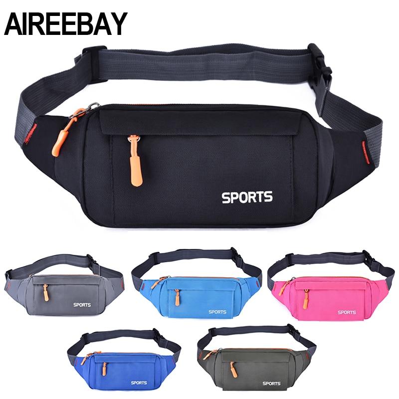 Riñonera AIREEBAY para correr para mujer, riñonera resistente al agua, soporte para teléfono móvil, bolsa de viaje para gimnasio y Fitness, riñonera rosa