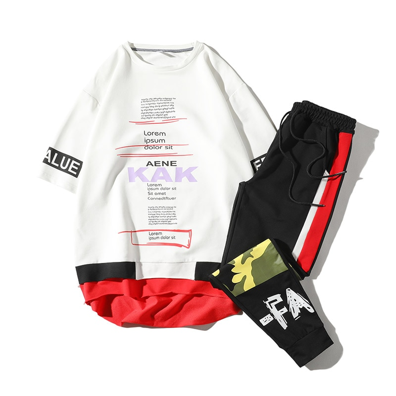 2019 new autumn summer style men tracksuit short t shirts and ankle-length pants sporting suit masculino LBZ86