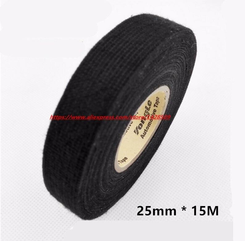 Cinta de tela de franela Universal de 25mm x 15m, arnés de cableado automotriz, Cinta de fieltro autoadhesiva antisonajero para coche de franela negra