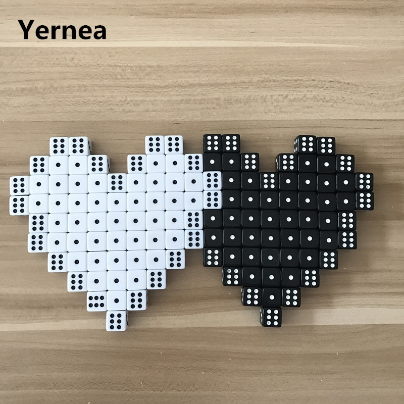 Yernea 100Pcs High-quality 14mm Dice Black and White Square Corner RPG Dice Set Club Party Game Puzzle Dice Wholesale