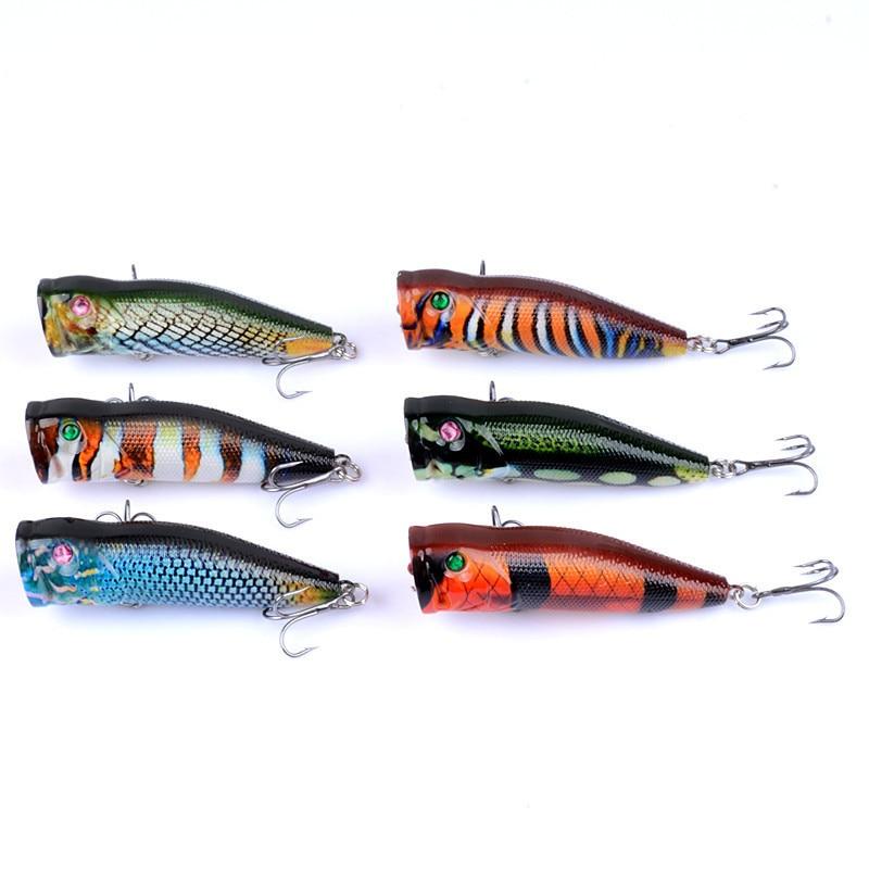 6Pcs/Lot Popper Fishing Lures 7.5cm/10.4g Top-Water Artificial Hard Baits For Sea Fishing Crankbait Wobblers Swimbait Tackle enlarge