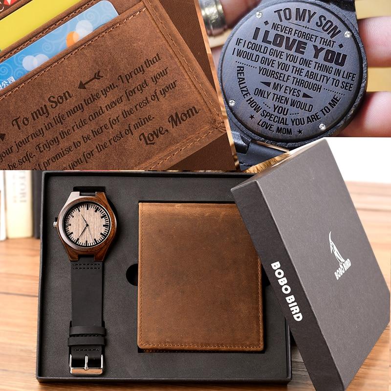 Reloj hombre BOBOBIRD personnalisé montre en bois et portefeuille graver Message cadeaux impressionnants