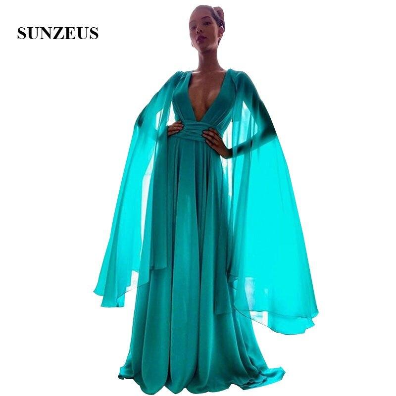 Vestido de fiesta de verano Simple de manga corta de chifón largo con cuello en V de línea a para mujer