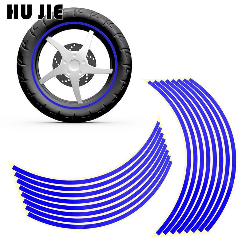 "16 Pcs Strips Motorcycle Wheel Sticker Reflective Decals Rim Tape Bike Car Styling For YAMAHA HONDA SUZUKI Harley BMW  18"""