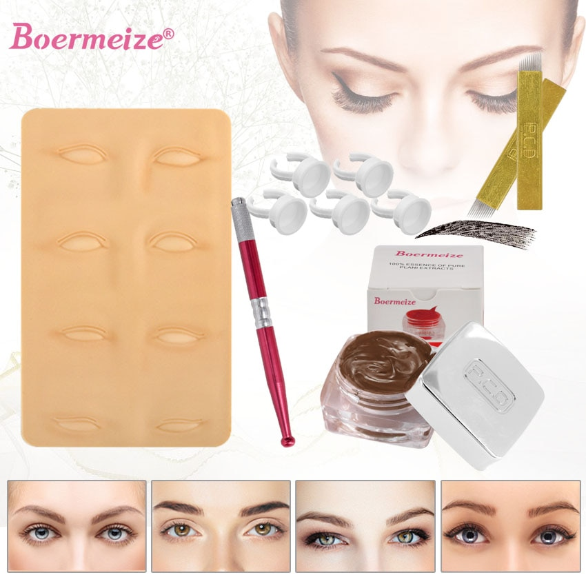 Kit de tatuagem maquiagem permanente sobrancelha microblading kit 3d prática anel de tinta da pele copo caneta manual kit de beleza conjunto ferramentas iniciantes