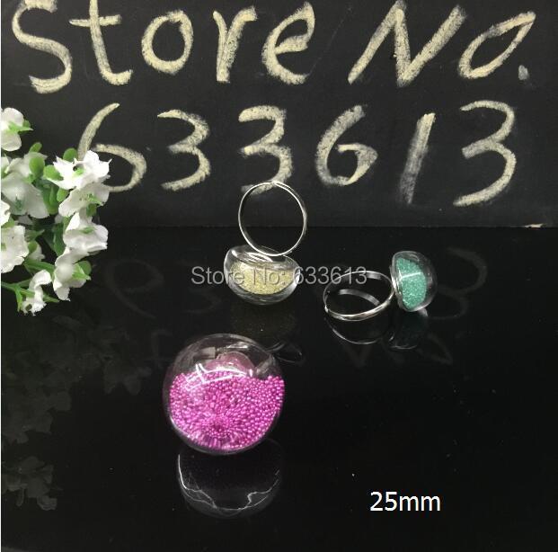 100 set/lote 25 MM bolha cogumelo anéis vidro líquido globo bolha Vial anéis de cor prata Metal anel de enchimento