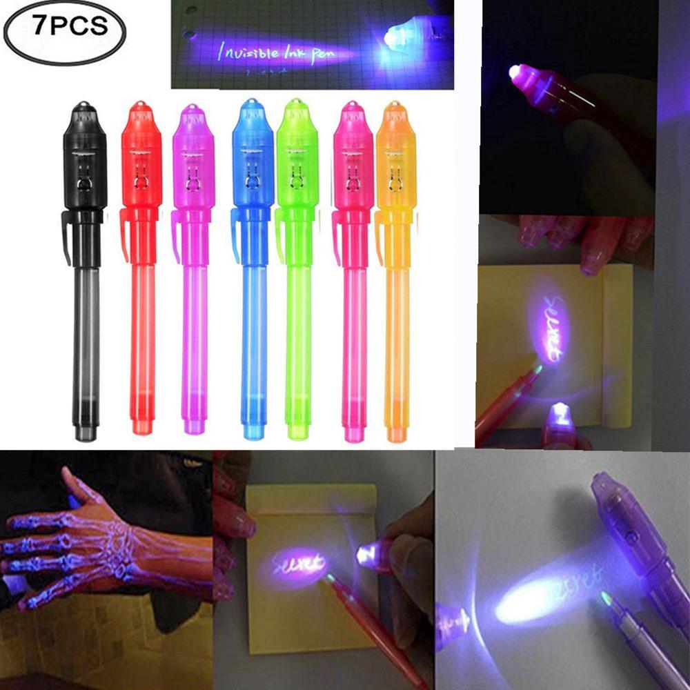 Brilham no escuro Brinquedo 7 pçs/set Magia Luz UV Caneta de Tinta Invisível Luz Marcador Caneta Secreta de Aniversário Brinquedo Da Novidade presente