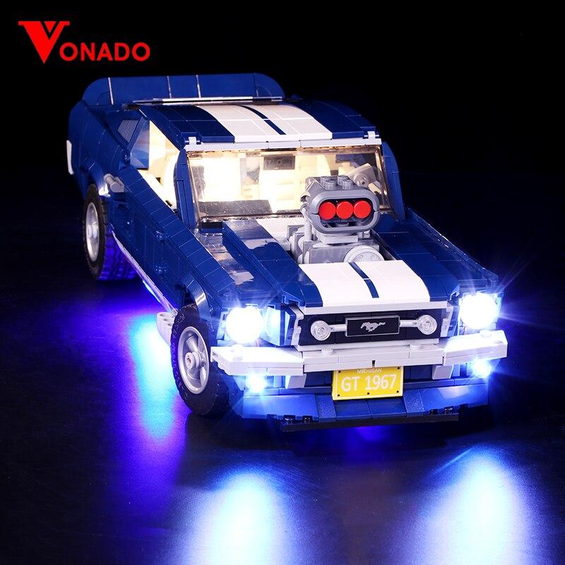 Luz Led para Lego 10265 B Ford Mustang DIY de iluminación creativa carrera bloques de construcción de automóviles juguetes regalos (sólo luz + caja de la batería)