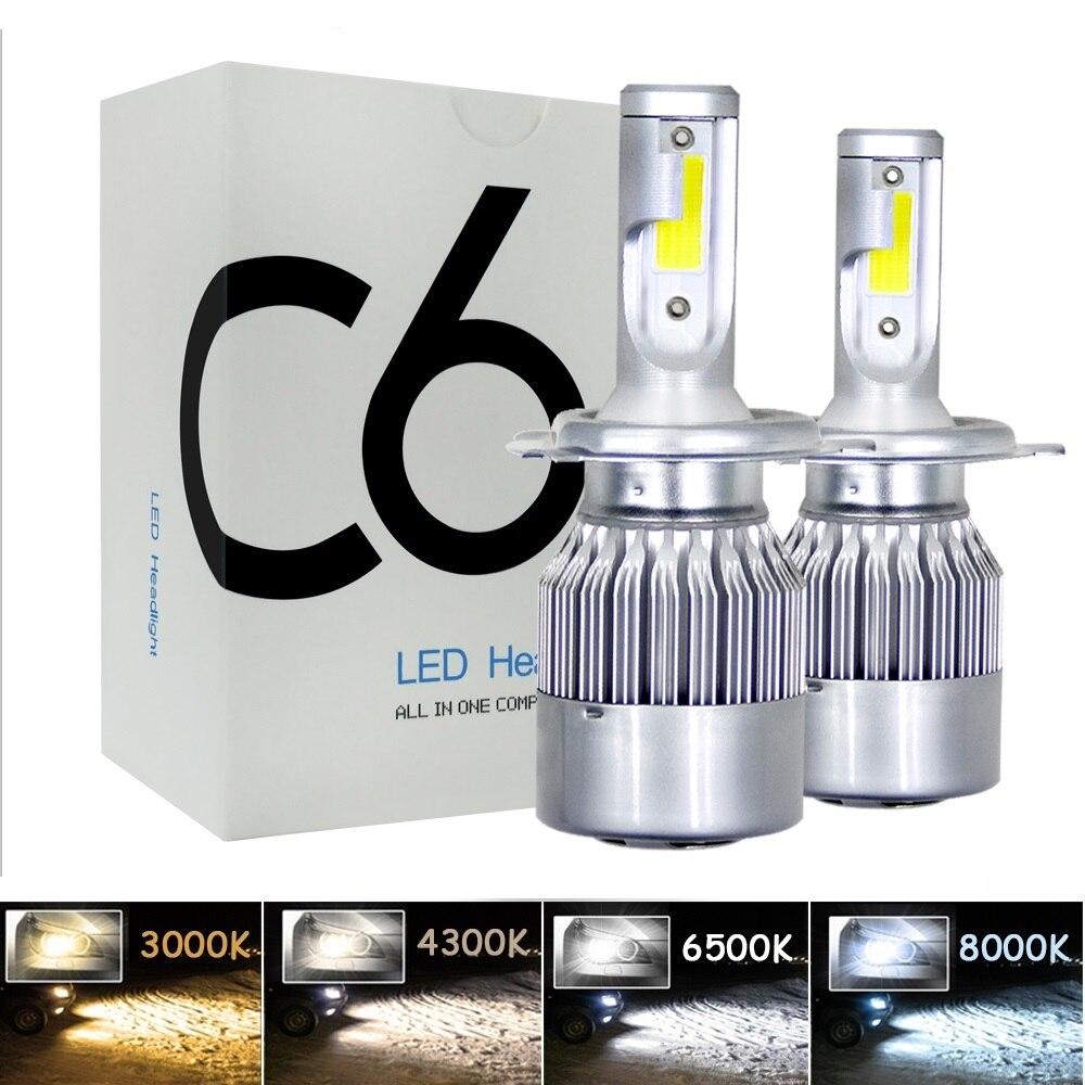 2 шт. H7 LED Turbo H4 Автомобильная фара Лампа COB H11/H8/H9 H1 H3 9005/HB3 9006/HB4 Hir2 H27 8000LM 4300K 6000K 12V 24V Авто Voiture