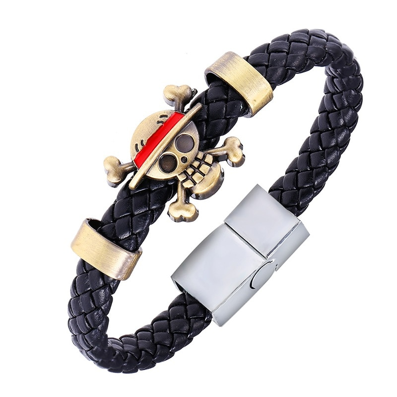 Nouveau japon Action une pièce Figure jouets Naruto Anime accessoires Circlet Bracelet Luffy une pièce Anime cuir tricot Bracelet