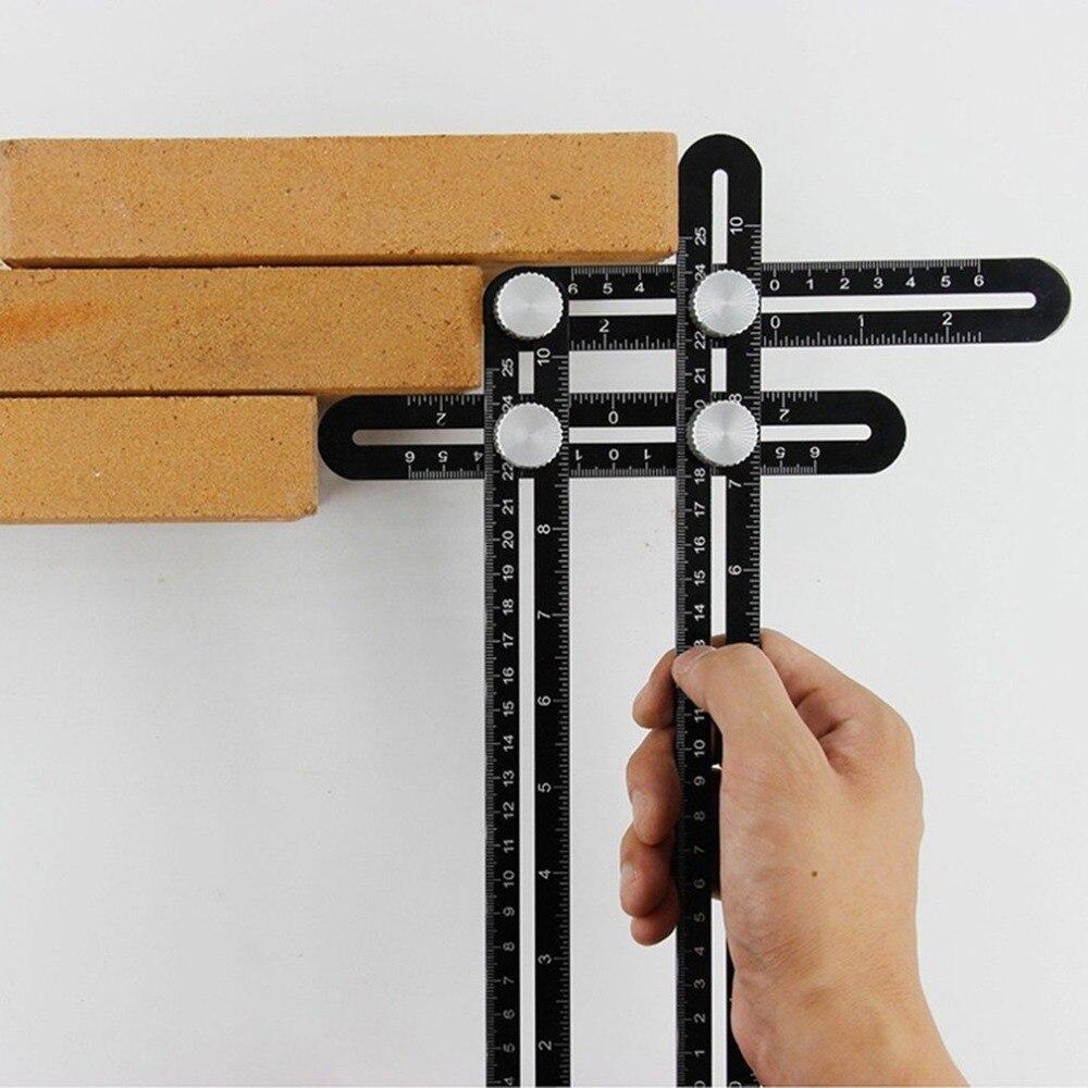 Regla Multi Ángulo de medición de aluminio regla de posicionamiento plegable localizador con tornillos de Metal para DIY herramienta de azulejo de madera seis veces abierto