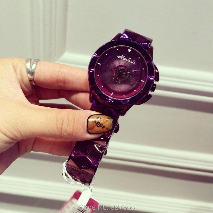 2020 New Women Watch Stainless Steel Watches Lady Shining Rotation Dress Watch Big Diamond Purple Wristwatches Lady Clocks hours enlarge