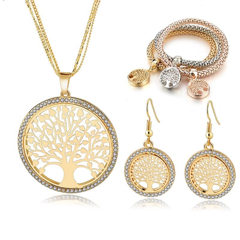 SZELAM Gold Tree of Life Jewelry Set for Women Necklace Earrings Bracelets Set Wedding Crystal Jewellery Set SET160008