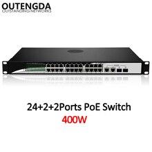 24 10/100 Mbps POE Anahtarı Standart 802.3af/Anahtarlı 2*1000 Mbps UPlink ve 2 gigabit SFP IP Kamera, kablosuz erişim noktası