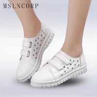 plus size 34 43 fashion new cut outs women shoes with hole breathable hook loop flats casual shoes summer footwear zapatos mujer