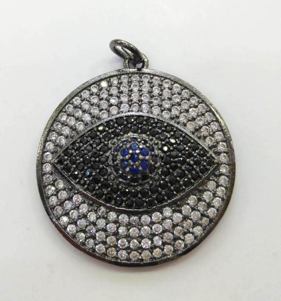 Handmade Eyes Micro Crystal Pave Diamond Pendant gunmetal Jewelry Focal Triangle Round Disc Evil Jewelry beads 18-28mm