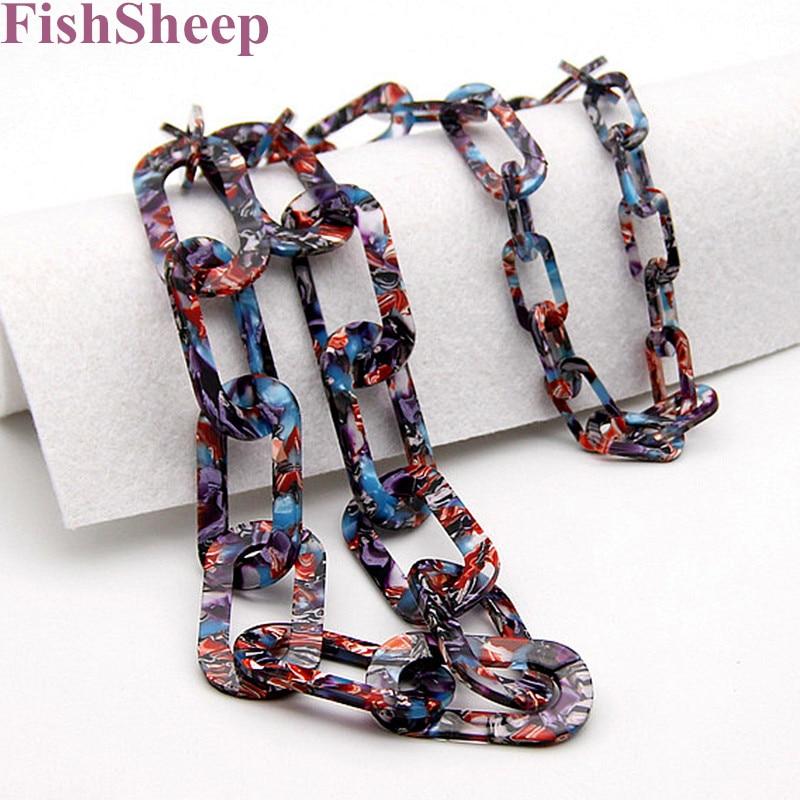 FishSheep 2018, nueva moda, collar de cadena larga de ácido acrílico, cadenas de eslabones trenzadas bohemias, collar grande para mujer, regalos de joyería para fiestas