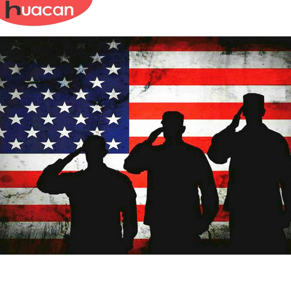 HUACAN elmas mozaik çapraz dikiş bayrağı 5D elmas boyama tam kare amerikan ordusu elmas sanat kitleri resim taklidi