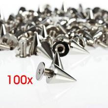 100 stücke/set 9,5mm Silber Kegel Spikes Screwback Studs DIY Handwerk Kühlen Nieten Punk