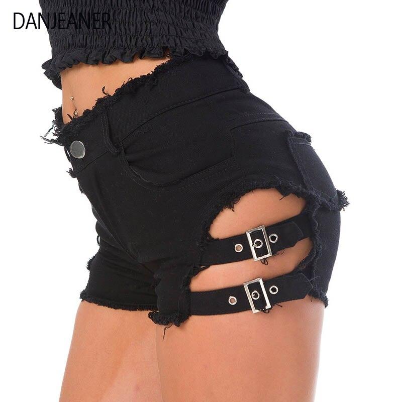 DANJEANER 2019 verano Sexy mujeres Denim Shorts ahuecados vendaje Punk Rock pantalones cortos de cintura alta