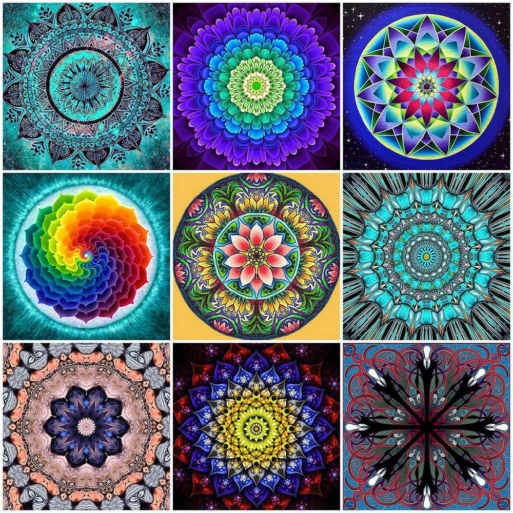 Huacan Diamond Painting Kit Mandala Diamond Embroidery Cross Stitch Flower Full Square Rhinestones Pictures Home Decoration