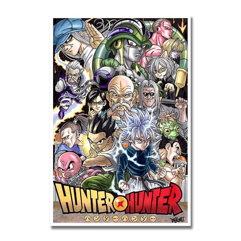 Impresión artística de seda o lona Hunter x Hunter y Dragon Ball Anime Poster para decoración de habitación-001